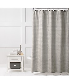 "Saturday Knight Neutral Textured Stripe 70"" x 72"" Shower Curtain"
