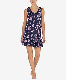 Lauren Ralph Lauren Ruffle-Trim Floral-Print Nightgown
