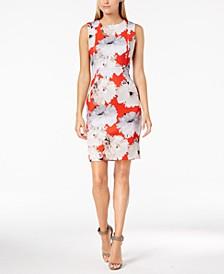 Petite Floral Scuba Sheath Dress