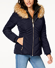 GUESS Faux-Fur-Trim Hooded Puffer Coat