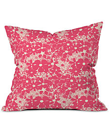 Deny Designs Joy Laforme Floral Rainforest In Coral Pink Throw Pillow