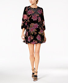 Calvin Klein Floral Burnout Velvet Shift Dress