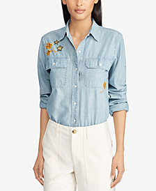 Lauren Ralph Lauren Petite Cotton Chambray Shirt