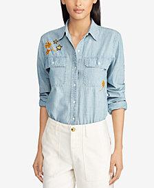 Lauren Ralph Lauren Petite Cotton Chambray Shirt