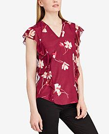Lauren Ralph Lauren Petite Floral-Print Ruffled Top