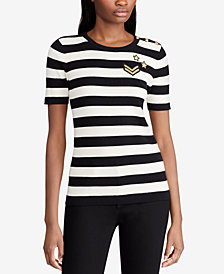 Lauren Ralph Lauren Petite Striped Short-Sleeve Sweater