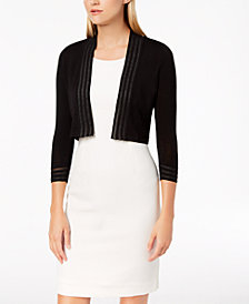 Calvin Klein 3/4-Sleeve Shadow-Stripe Shrug