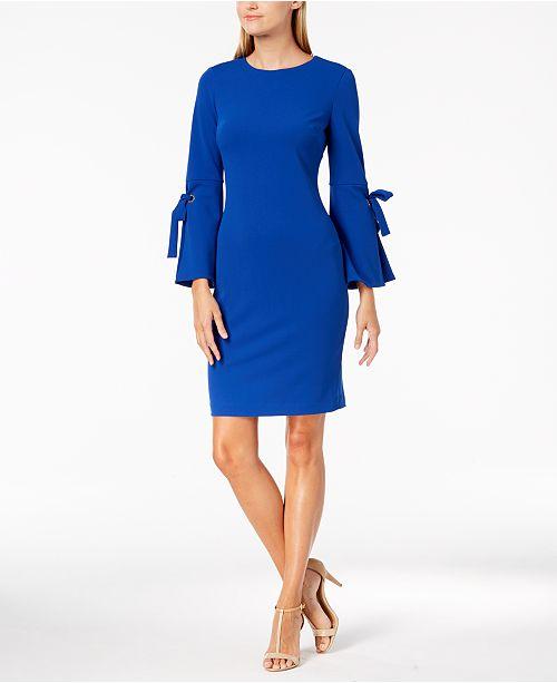 2a8aeb9a Calvin Klein Tie-Sleeve Sheath Dress & Reviews - Dresses - Women ...