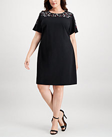 Calvin Klein Plus Size Floral-Embroidered Dress