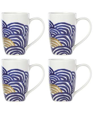 Lenox-Wainwright Pompeii Blu Sea 4-Pc. Mug Set, Created for Macy's
