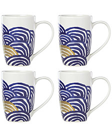 Lenox-Wainwright Pompeii Blu Sea 4-Pc. Mug Set, Created for Macy's