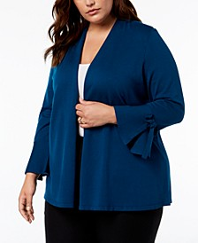 Plus Size Tie-Sleeve Cardigan, Created for Macy's