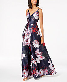 Calvin Klein Floral-Print Plunge Gown