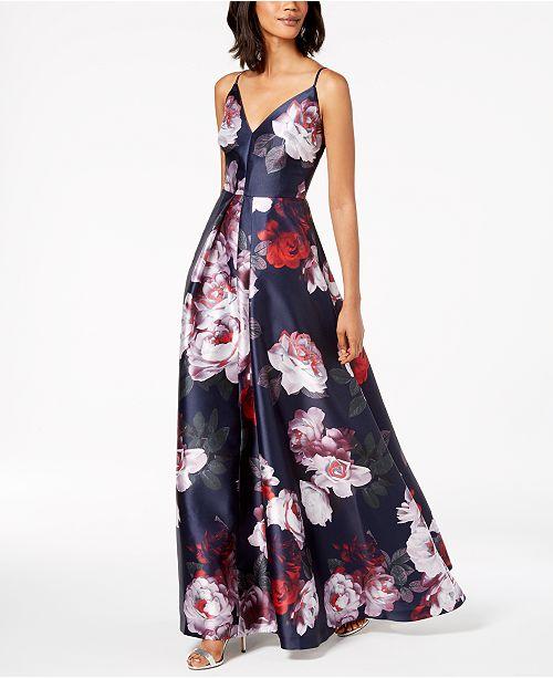9f674b6319 Calvin Klein Floral-Print Plunge Gown   Reviews - Dresses - Women ...