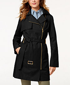 MICHAEL Michael Kors Belted Asymmetrical Trench Coat