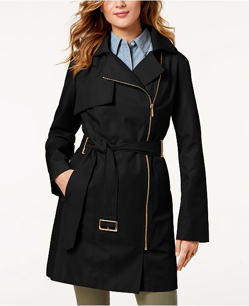 dd1fdd6bca0b Michael Kors Belted Asymmetrical Trench Coat & Reviews - Coats ...