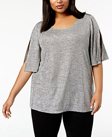 Calvin Klein Plus Size Split-Sleeve Top
