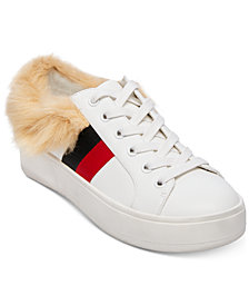 Steve Madden Women's Belle Faux-Fur Lace-Up Sneakers