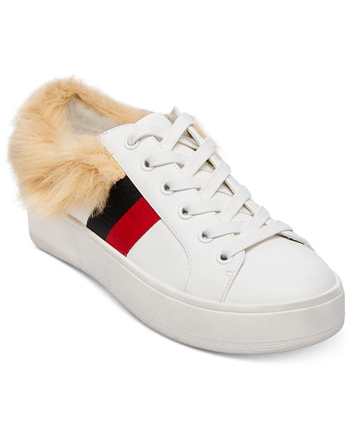 83879e14bac Steve Madden Women s Belle Faux-Fur Lace-Up Sneakers   Reviews ...