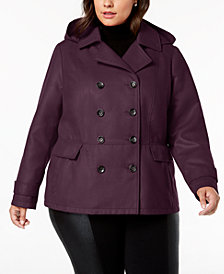 Celebrity Pink Juniors' Plus Size Hooded Peacoat