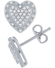 Diamond Cluster Heart Stud Earrings (1/5 ct. t.w.) in Sterling Silver