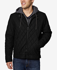 Buffalo David Bitton Men's Quilted Full-Zip Moto Jacket with Removable Hood
