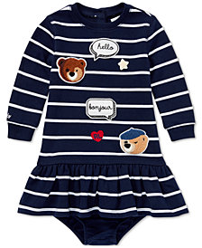 Ralph Lauren Baby Girls Striped Patch Dress