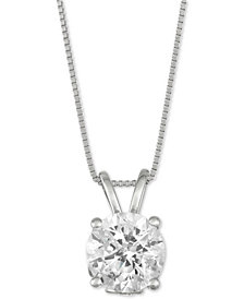 "Diamond Solitaire 18"" Pendant Necklace (2 ct. t.w.) in 14k White Gold"
