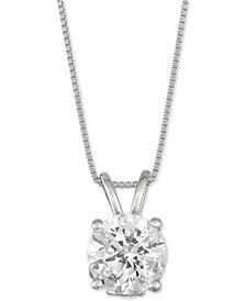"Diamond Solitaire 18"" Pendant Necklace (2 ct. t.w.) in 14k White Gold"