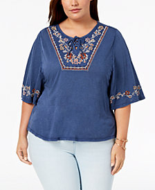 Style & Co Plus Size Lace-Up Embroidered Elbow-Sleeve Peasant Top, Created for Macy's