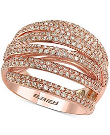 EFFY® Diamond Multi-Band Overlap Statement Ring (1 ct. t.w.) in 14k Rose Gold