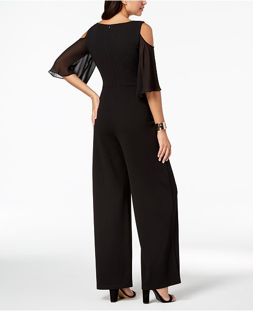 160af8d272b5f Connected Cold-Shoulder Wide-Leg Jumpsuit   Reviews - Pants   Capris ...