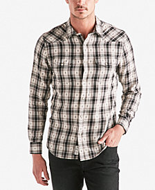 Lucky Brand Men's Geometric Dobby Plaid Western Shirt