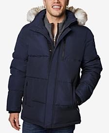 Men's Long Hooded Coat with Faux-Fur Trim