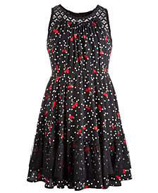 Epic Threads Big Girls Printed Lace-Trim Dress, Created for Macy's