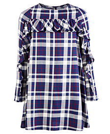 Epic Threads Big Girls Ruffle-Trim Plaid Shift Dress, Created for Macy's