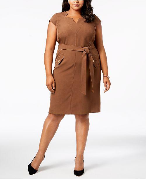 Dress Plus Sheath Belted Kasper Size Bark xHqTnUO
