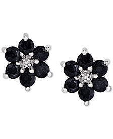 Sapphire (1-3/4 ct. t.w.) & Diamond Accent Flower Stud Earrings in Sterling Silver