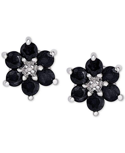 a98422b6c6d59 Sapphire (1-3/4 ct. t.w.) & Diamond Accent Flower Stud Earrings in Sterling  Silver