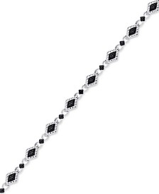 Diamond Accent Marquise Link Bracelet in Silver-Plate