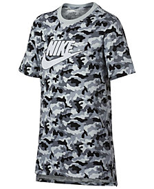 Nike Big Boys Drop-Tail Camo-Print Cotton T-Shirt
