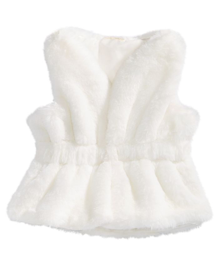 First Impressions - Baby Girls Faux-Fur Vest