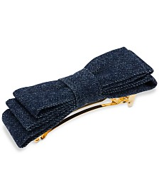 France Luxe Gold-Tone Denim Bow Hair Barrette