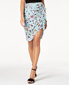 GUESS Dotty Ruched Zip-Detail Skirt