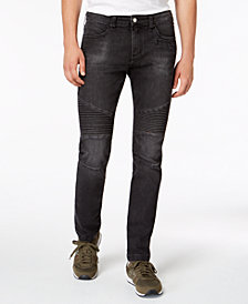 A|X Armani Exchange Men's Slim-Fit Black Moto Jeans