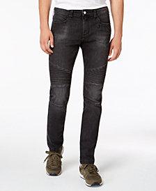 A|X Armani Exchange Men's Slim-Fit Black Moto Jeans