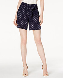 Bar III Polka-Dot Tie-Waist Shorts, Created for Macy's