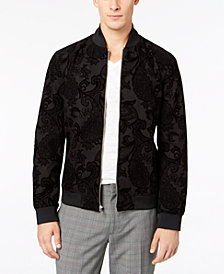 I.N.C. Men's Flocked Paisley Full-Zip Bomber Jacket, Created for Macy's