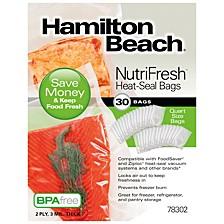 Nutrifresh Quart Size Heat Seal Vacuum Food Storage Bags, 30 Pack
