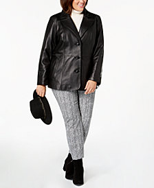 Jones New York Plus Size Single-Breasted Leather Jacket